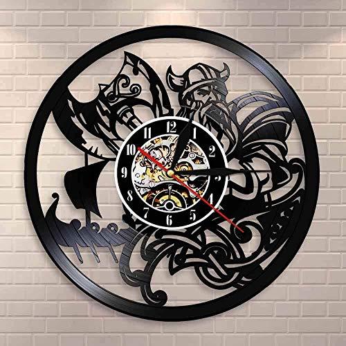 Reloj de pared grande Reloj de cocina Reloj de pared vikingo nórdico rezando reloj de pared vikingo medieval dios del trueno leyenda del país de las hadas runa nórdica Nordland axe reloj de pared 30