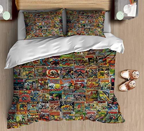 DGAIER Retro Pattern Duvet Cover Set - Vintage Comic Book Pattern - Bedding Set with Pillowcase Gift for Kids Girls Duvet Cover Queen/Full Size