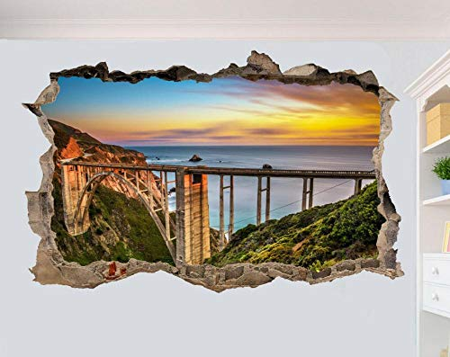 Wall Stickers Bixby Bridge California Sunset Wall Sticker 3D Art Poster Mural Decoration