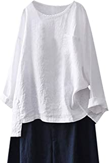 TINGZI Women Tees Casual Plus Size Shirts Cotton Linen Loose Full Sleeve Solid T-Shirt Blouse Top Loose Tunic