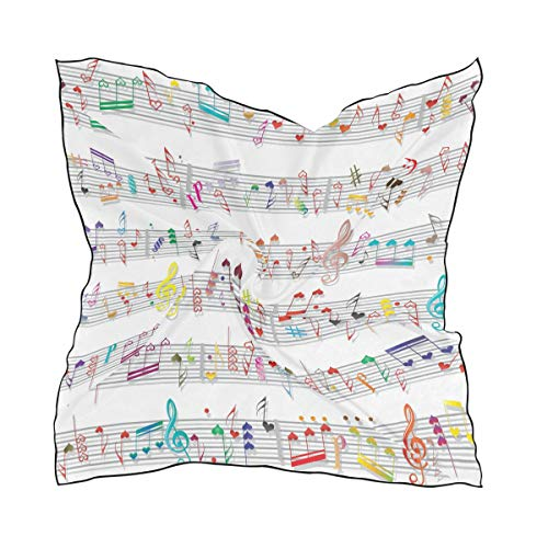 Ahomy - Bufandas cuadradas, diseño de notas musicales, textura de sonido, para mujer, 60 x 60 cm
