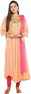 Imara Womens V Neck Zari Embroidered Churidar Suit