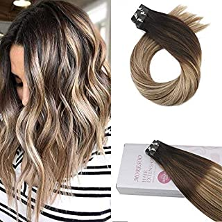 Moresoo Tape in Human Hair Extensions 16 Inch Tape in Balayage Hair Extensions Balayage #1B Fading to #6 Mixed #22 Blonde Seamless Hair Extensions 20pcs/50g
