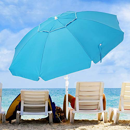 KITADIN 6.5FT Beach Umbrella Portable Outdoor Patio Sun Shelter with Sand Anchor, Fiberglass Rib, Push Button Tilt and Carry Bag (Turquoise)