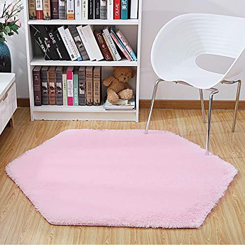 SUMLINK Play Tent Rug, Pink Hexagon Princess Pad Coral Soft Mat Rug Carpet for Kids Play Tent Playhouse
