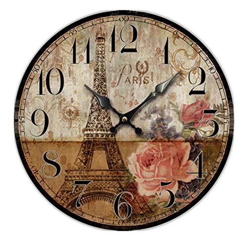 Reloj De Pared Retro De Madera Vintage Eiffelturm Und Blumen Reloj Pared Reloj Numérico para Cocina,La Sala De Estar, Dormitorio,