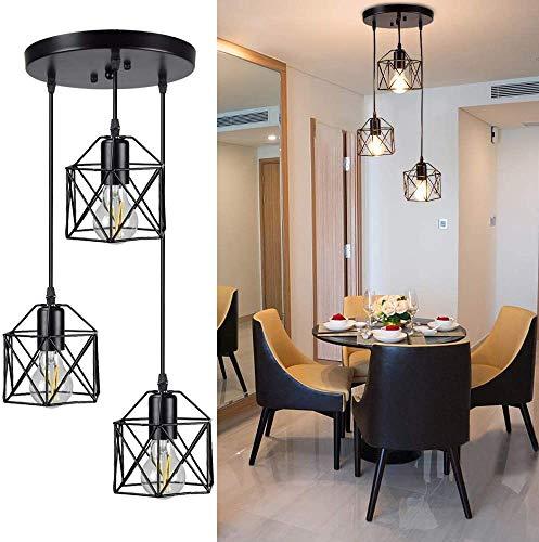 Depuley Hängende Hängeleuchte, Vintage 3-flammige Deckenlampe, industrielle Unterputz-Deckenleuchte, schwarz geometrische Deckenhängelampe für Küche, Esszimmer, Flur, Tür
