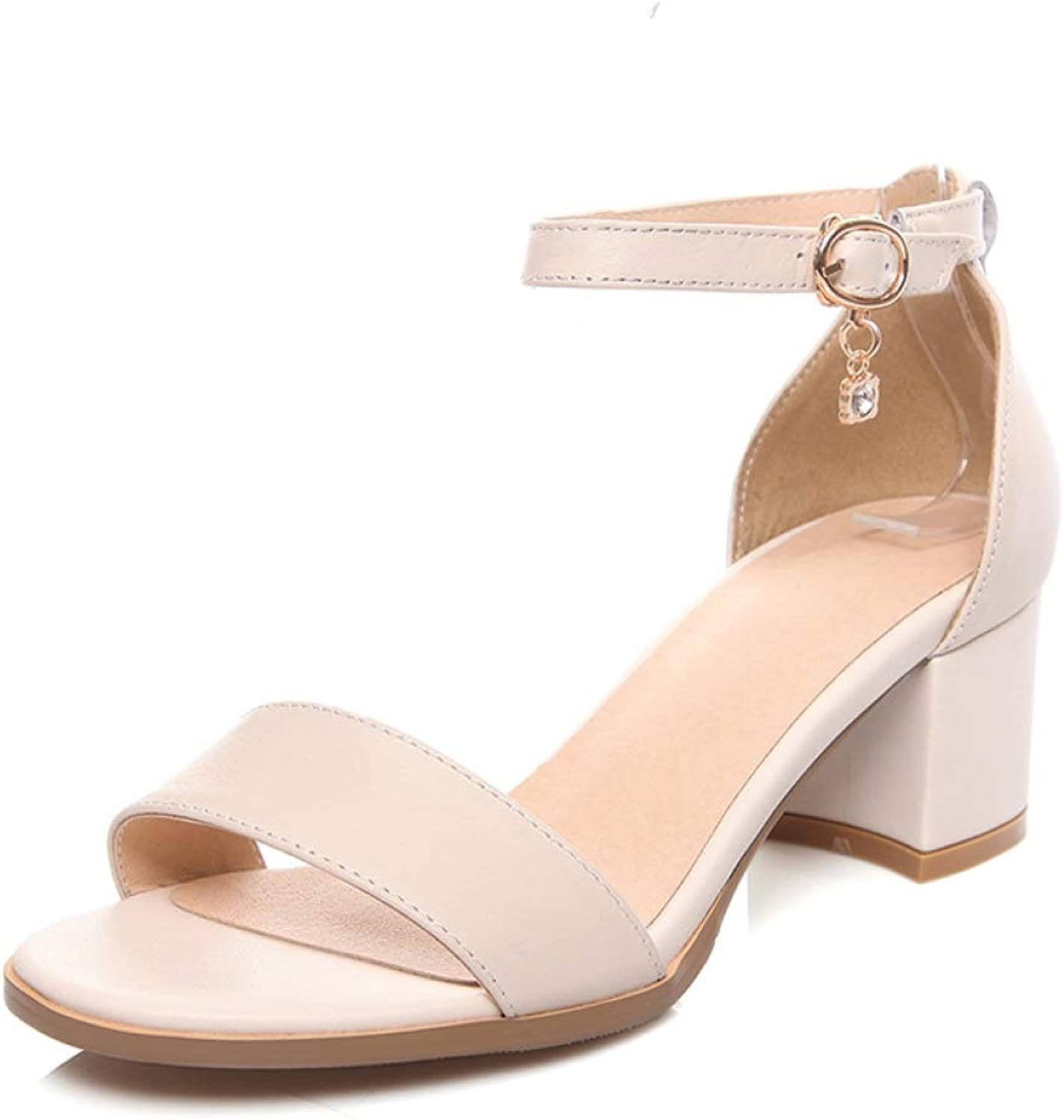 MEIZOKEN Women's Low Chunky Block Heel Sandals Buckle Ankle Strap Open Toe Dress Pumps Sandal