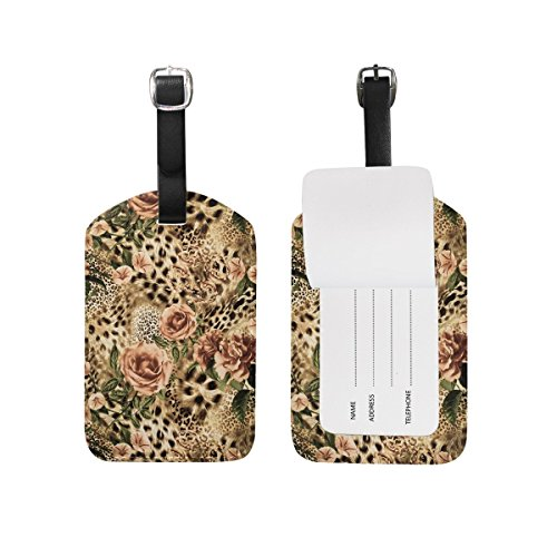Etiquetas de equipaje florales con estampado de leopardo a rayas para maleta 1 pieza