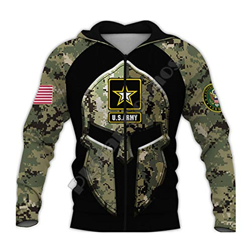 ROMBOBAG Traje del ejrcito Militar de EE. UU. Soldado Camo Pullover Chndal 3Dprint Cremallera/Sudaderas con Capucha/Sudaderas/Chaqueta Zip Hoodies XXL