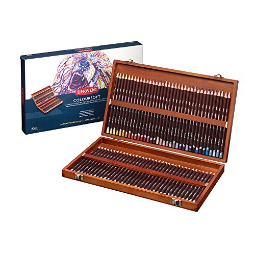 Derwent Coloursoft - Set de 72 Crayons de Couleurs dans un Coffret en Bois, Qualité Professionnelle, 0701031