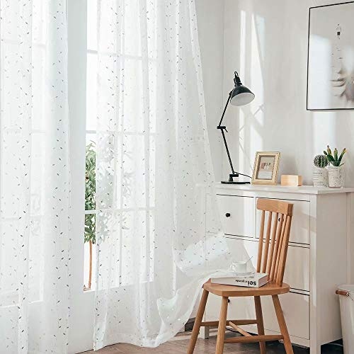 YJ YANJUN Sheer Curtains with Silver Leaves for Living Room White Voile Curtains with Sliver Foil Embossing Leaf Pattern 84 inches Longwhite/Sliver