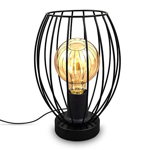 B.K.Licht I Draht-Tischlampe I E27 I Kabelschalter I 1-flammige Vintage Tischleuchte mit Metallschirm I Höhe 25,6 cm I Schwarz I ohne Leuchtmittel