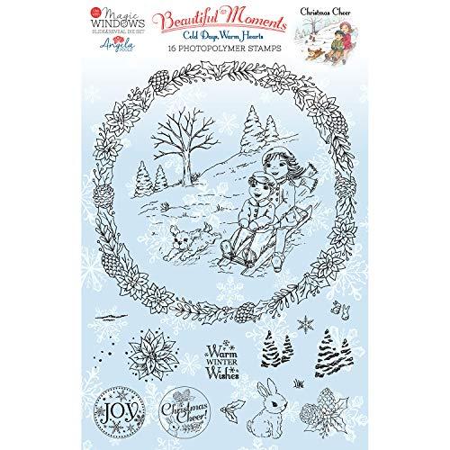 Angela Poole APBMCC04 Christmas Cheer-Clear Stamp Transparentes Stempel-Set, Motiv, durchsichtig, A5
