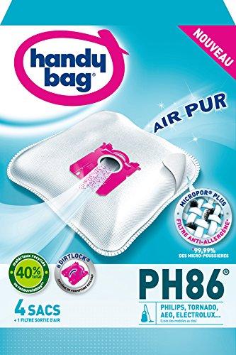 Handy Bag - PH86 - 4 Sacs Aspirateurs, pour Aspirateurs Philips, Electrolux, AEG et Tornado, Progress, Standard-Bag et Zanussi, Fermeture Hermétique, Filtre Anti-Allergène, Filtre Moteur