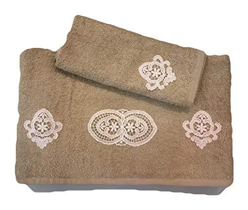Affreschi Tessili Set Asciugamani Medio + ospite con Applicazione di Pizzo macramè