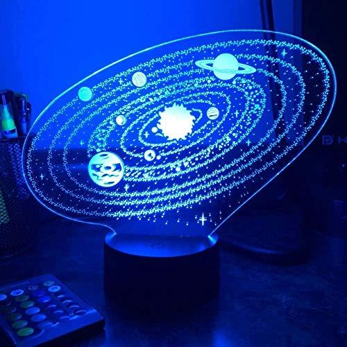3D ilusión luz led noche espacio al aire libre sistema solar óptico lámpara de mesa regalo niños regalo cumpleaños
