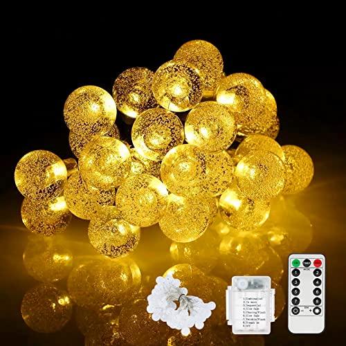 SUNNEST Lichterkette 8 Blinkmodi wasserdichte LED Deko-Beleuchtung mit 50 Leds 7M für Garten Terrasse Hof Haus Party Schlafzimmer Wohnzimmer Hochzeit,warm weiß