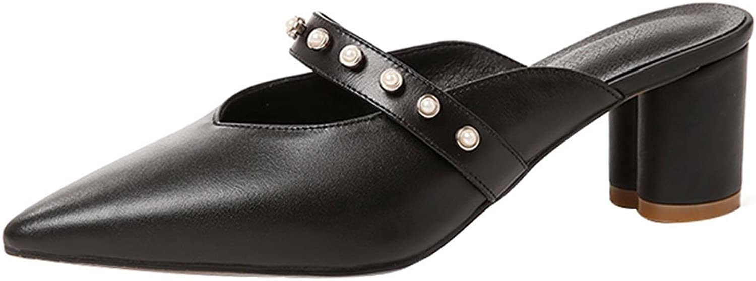 LIUXUEPING The New 2018 Summer Real Leather and A Half-Slipper Girl with A Pair of shoes and A Pair of shoes with A Mulled shoes (color   Black, Size   36)