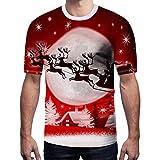 Xmiral t Shirt Maglia Magliette T-Shirt Camicetta Top Uomo Natale Manica Corta Lettera Stampata Casual (S,3Rosso)