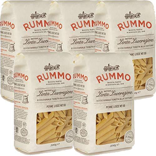 Penne Lisce | Rummo | 5kg Maxi Formato | Pasta | Grano 100% Italiano | Confezione 10 Pacchi da 500gr | Idea Regalo