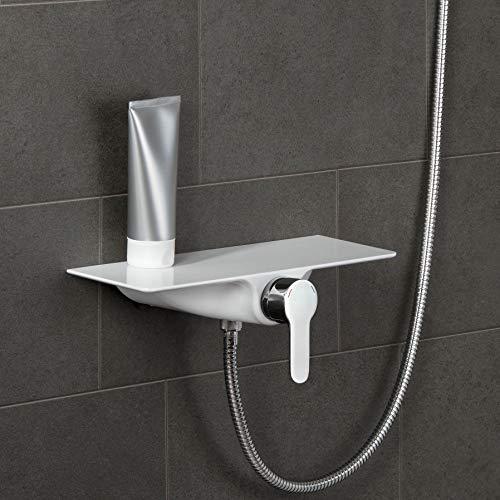 SCHÜTTE 60545 WATERWAY Duscharmatur mit Ablage, Brausearmatur Badarmatur für Dusche, Einhebelmischer Mischbatterie, Brausemischer mit Duschablage Badregal für Badezimmer, Chrom/Weiß