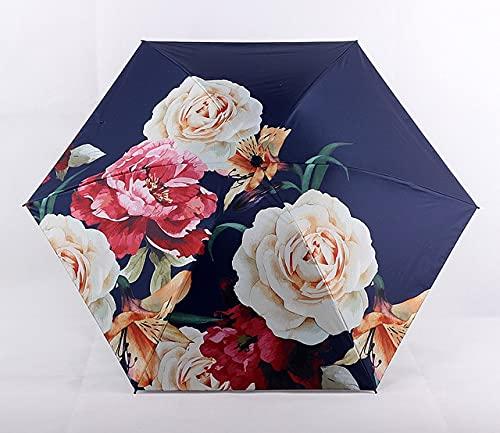 DJMJHG Peony Flowers Pattern 5-plegable lluvia mini paraguas de bolsillo para las mujeres niña anti-uv pequeño sombrilla paraguas YD200301NY