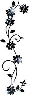 frigidssm 3D Elegant DIY Acrylic Mirror Effect Flower Vine Wall Stickers Mural Decal Home Decor Art Decor Black