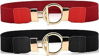 ALAIX 2 Pack Women's Belt حزام نسائي بسط 2 عبوة Dress Belts for Women Gold Metal Buckle Skinny Stretchy Waist Belt Elastic...