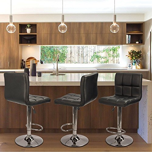 Homall Bar Stools Modern PU Leather Adjustable Swivel Barstools, Armless Hydraulic Kitchen Counter Bar Stool Synthetic Leather Extra Height Square Island Barstool with Back Set of 2(Black)
