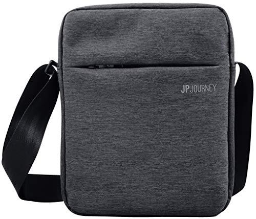 JP Journey Umhängetasche Tablet iPad bis 11 Zoll, RFID Blocker Fach, Anti-Diebstahl, Wasserfest, Herren Damen, 3.5 L Klein Grau