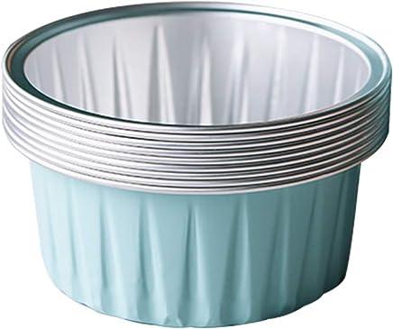 Bakerdream 125ml Aluminum Foil Cake Cups Muffin Cupcake Ramekin Cup Reusable Baking Cups Tart Mold Dessert Pans Pack of 30 (Light Blue)