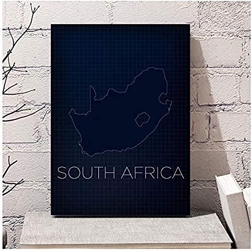 Canvas print,Decoraties home ideas Zuid-Afrika Kaart Land Nordic Art Canvas Poster Home Wall Decor-60x80cm