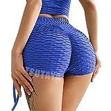 TSUTAYA Butt Lifting Yoga Shorts for Women High Waist Tummy Control Hot Pants Textured Ruched Sports Gym Running Beach Shorts Royal Blue L