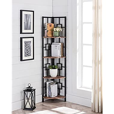 Reclaimed Weathered Oak Finish Black Metal Wall Corner 4-Tier Bookshelf Bookcase