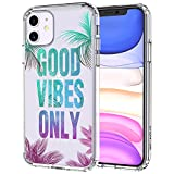 MOSNOVO iPhone 11 Case, Good Vibes Only Quotes Tropical Leave Pattern Clear Design Transparent Plastic Hard Back Case with TPU Bumper Protective Case Cover for Apple iPhone 11 (2019)