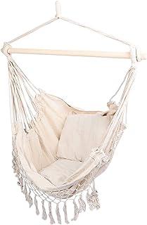Sillón de balancín colgante con cojín cómodo, asiento de columpio, interior y exterior, con almohada para salón, jardín, camping, terraza, color blanco