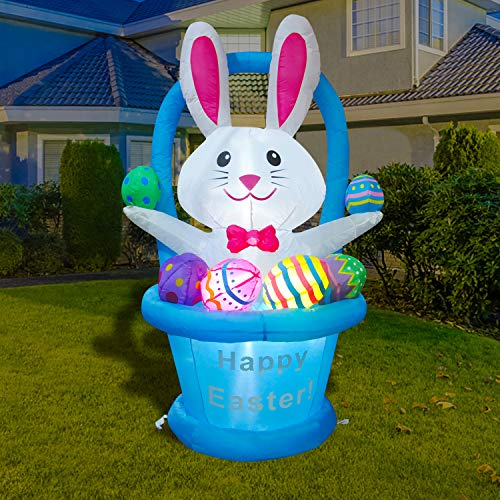 BLOWOUT FUN 5ft Inflatable Easter Decoration Bunny Basket with Eggs Happy Easter LED Blow Up Lighted Decor Indoor Outdoor Holiday Art Decor Decorations