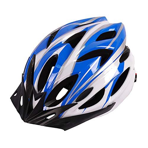 YATT Casco De Bicicleta, Moldura De Una Pieza 18 Hoyos Cómodo Transpirable con Visera Solar Tamaño Ajustable Ligero para Montar En Carretera Casco Azul Blanco Apto para Adultos