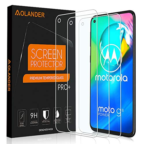 AOLANDER para Motorola Moto G8 Power/ G Pro Cristal Templado Protector de Pantalla, 9H Dureza [2.5D , 0.3mm] [Anti Arañazos] [Alta Definicion] [Sin Burbujas] Screen Protector [3 Pack]