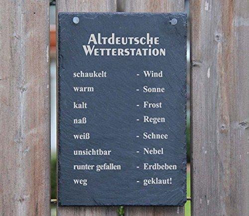 A2 Schiefertafel Wetterstation Schiefer wenn Stein nass - Regen Wetterstein Schiefer Schild Schöne...