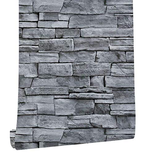 17.71' Wide x 393.7' Long Peel and Stick Wallpaper Stone Self Adhesive Wallpaper Easily Removable Wallpaper Brick Wallpaper Waterproof Self-Adhesive Wallpaper Decorative Easy to Apply Peel Stick