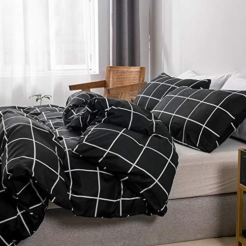 Boqingzhu Bettwäsche Kariert 135x200cm Schwarz Weiß Karo Modern Bettwäsche Set Microfaser Einzelbett Bettbezug und Kissenbezug 80x80cm mit Reißverschluss
