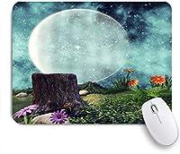 GUVICINIR マウスパッド 個性的 おしゃれ 柔軟 かわいい ゴム製裏面 ゲーミングマウスパッド PC ノートパソコン オフィス用 デスクマット 滑り止め 耐久性が良い おもしろいパターン (ファンタジームーンブルー星空花緑の植物シダ葉木の切り株夜の風景)