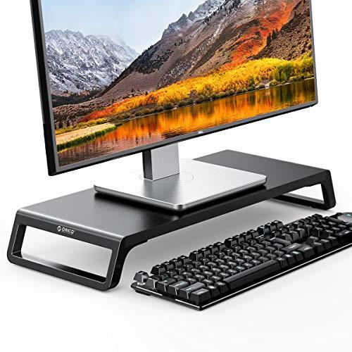 ORICO Monitorständer aus Holz, PC Bildschirm Ständer, Rutschfester Monitor Ständer für TV, PC, Laptop, Drucker - 56,4x21,1x7,5cm, 15 kg Traglast(Schwarz)