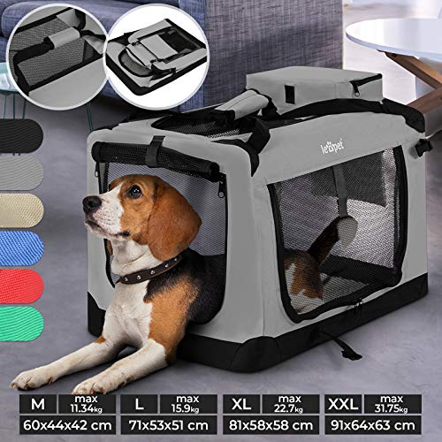 Hundebox - aus Stoff, S bis XXL, Faltbar, Tragbar, Abwaschbar, Größenwahl, Farbwahl - Hundetransportbox, Auto Transportbox, Katzenbox für Hunde, Katzen und Kleintiere (M (11.34kg/60x44x42cm), Grau)