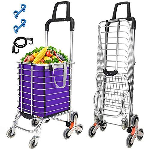 Macallen Carrito de Ruedas Plegable con Escaleras Ruedas para Subir Peso Ligero Supermercado