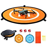 Drone Landing Pad with 3 Pcs LED Litghts, Collapsible Blue Orange Double-Sided Available Waterproof Landing Pads for RC Drones Helicopter(55cm/21'')