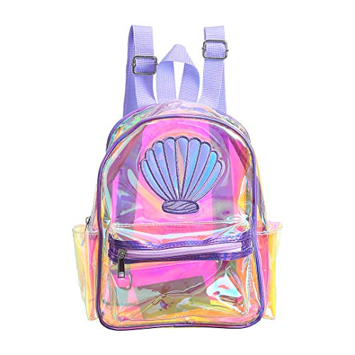 Jascaela Girls Shiny Holographic Clear Backpack See-through Transparent Shoulder Bag for Daily Travel Outdoor Casual Daypack(Purple)