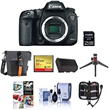 Canon EOS 7D Mark II DSLR Camera Body, with Wi-Fi Adapter Kit - Bundle With Holster Case, Spare Battery, 32GB SDHC Card, Cleaning Kit, Table Top Tripod, Memory Wallet, Software Package